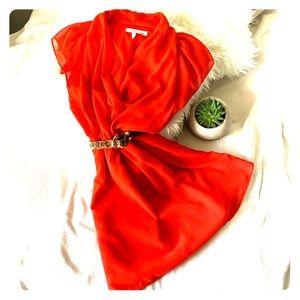 BCBGeneration Red Wrap V-Neck Skater Dress